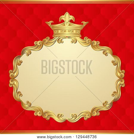 antique background with golden frame and crown