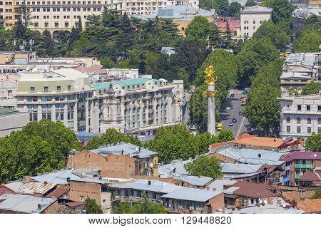 Tbilisi, Georgia - May 07, 2016: Tbilisi City Center Aerial View From Narikala Fortress, Georgia