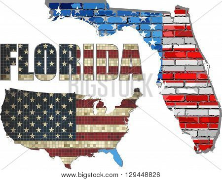 USA state of Florida on a brick wall - Illustration, The flag of the state of Florida on brick textured background,  Florida Flag painted on brick wall, Font with the United States flag,  Florida map on a brick wall