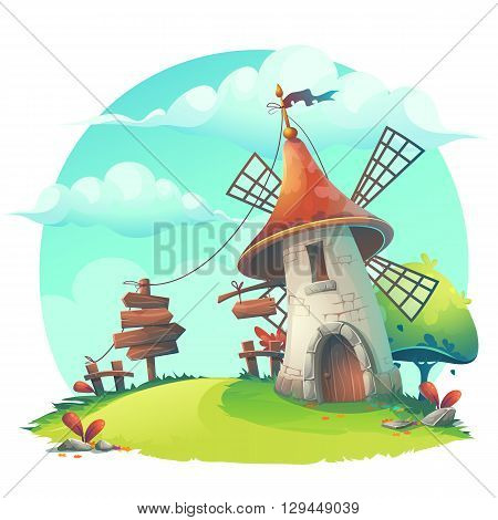 Vector cartoon illustration - background with a windmill hedge fence paling tree flower rocks rope stick lingerie grass.