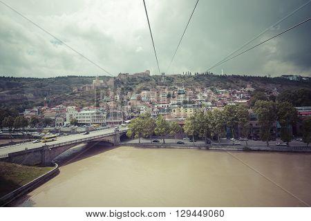 Tbilisi, Georgia - May 07, 2016: Bridge Over The River Of Tbilisi, Georgia. Tbilisi Is The Capital A
