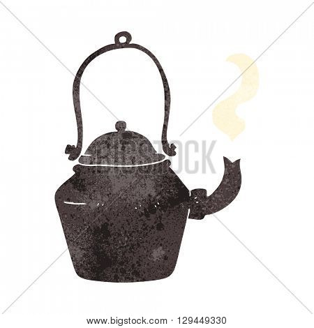 freehand retro cartoon old black kettle