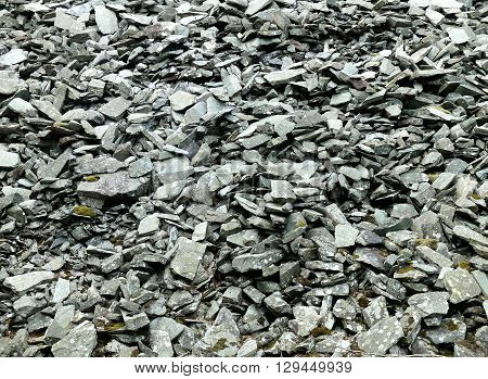 Scree slope from old slate quarry uk