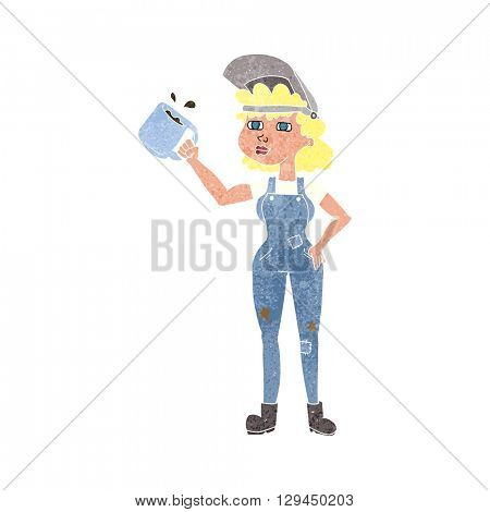 freehand retro cartoon woman in dungarees