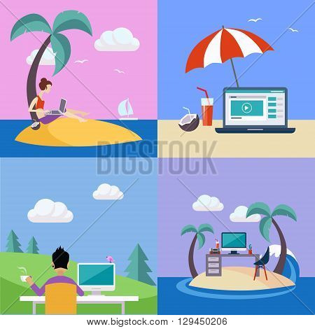 Distant Work On Holidays Illustration Set Set Of Flat Vector Illustrations In Bright Colorful Simplified Infographic Style