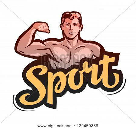 sport or gym. bodybuilder bends arm. vector illustration