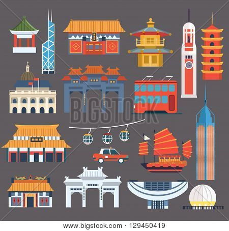 Chinese Symbolic Landmarks Collection In Simplified Flat Vector Colorful Design On Grey Background