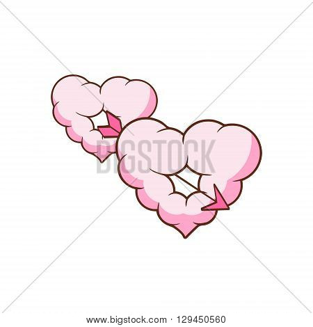Arrow Piercing Two Heart Shaped Clouds Flat Outlined Pink Cartoon Girly Style Icon On White Background