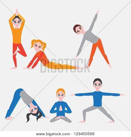 Yoga kids set. Gymnastics for children and healthy lifestyle. Yoga exercises. Yoga class, yoga center, yoga studio. Flat yoga asana