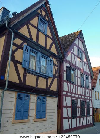 Traditional German Framed Houses Wit Wooden Structure
