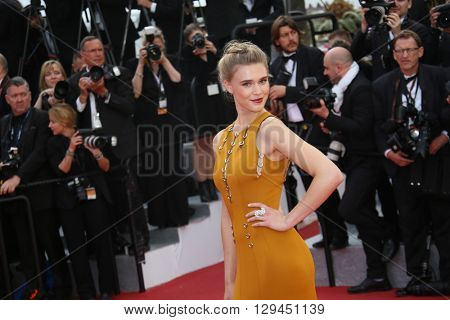 Gaia Weiss attends the 'Cafe Society' premiere and the Opening Night Gala during the 69th Cannes Film Festival at the Palais des Festivals on May 11, 2016 in Cannes, France.
