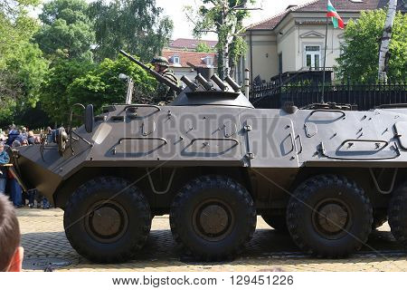 Sofia, Bulgaria - May 06: Day of Valor. Armoured personnel carriers BTR-60 PB MD1 on military hardware parade. On May 06, 2016 in Sofia Bulgaria.