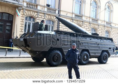 Sofia, Bulgaria - May 06: Day of Valor. Tactical operational missile complex point on military hardware parade. On May 06, 2016 in Sofia Bulgaria.