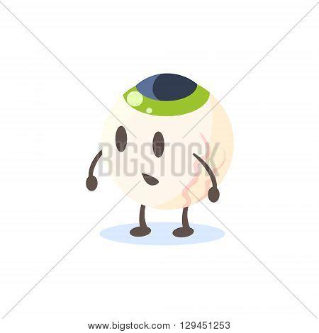 Eyeball Primitive Style Cartoon Character In Flat Childish Vector Design Illustration Isolated On White Background