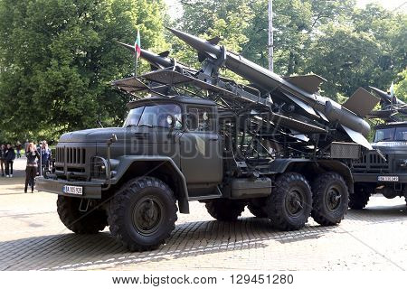 Sofia, Bulgaria - May 06: Day of Valor. Surface-to-air missile system c125 on military hardware parade. s125. Group military machines. On May 06, 2016 in Sofia Bulgaria.