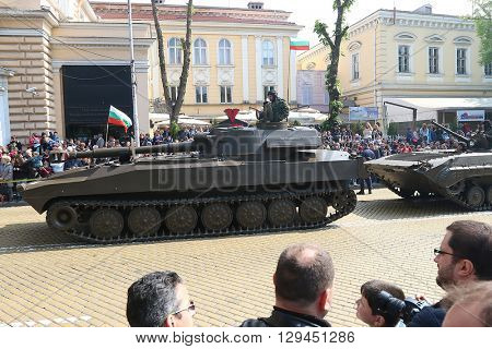 Sofia, Bulgaria - May 06: Day of Valor. Self-propelled howitzers 2C-1. On May 06, 2016 in Sofia Bulgaria.