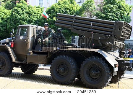 Sofia, Bulgaria - May 06: Day of Valor. Multiple Rocket Launcher System BM-21 Grad on military hardware parade. On May 06, 2016 in Sofia Bulgaria.