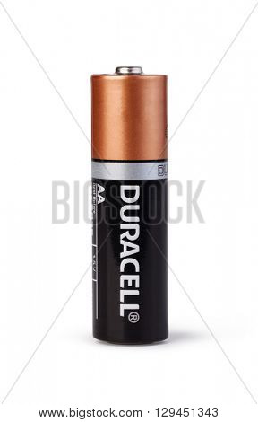 Moldova, March 17, 2016, Duracell Alkaline AA battery