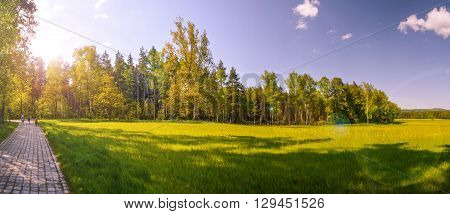 Majestic colorful landscape with sunny beams hike wander nature