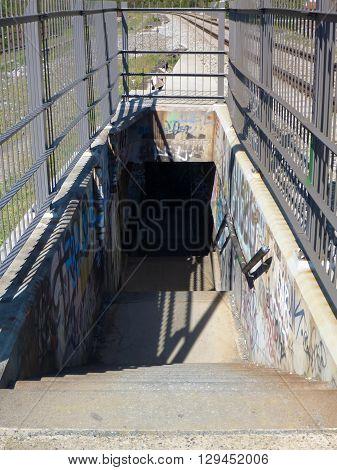 Stairs On A Pedestrian Line On A Railway Bridge