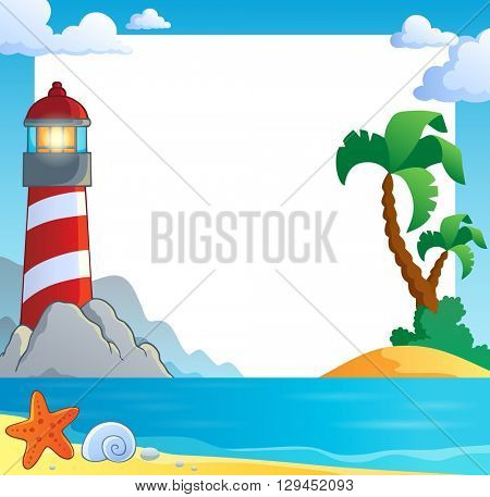 Frame with sea coast and lighthouse - eps10 vector illustration.