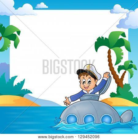 Frame with sailor on submarine - eps10 vector illustration.
