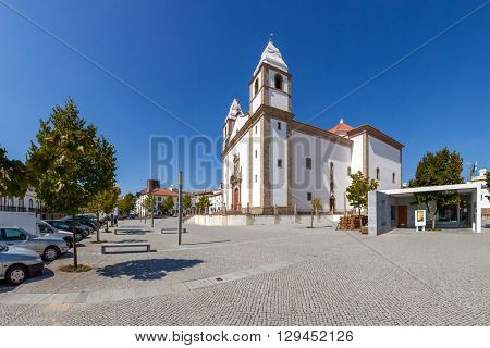 Castelo de Vide, Portugal - August 29, 2015: Santa Maria da Devesa church, the mother church of Castelo de Vide, Portalegre, Alto Alentejo, Portugal.