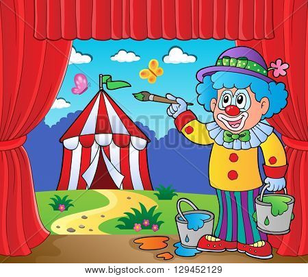 Clown painting image of circus on stage - eps10 vector illustration.