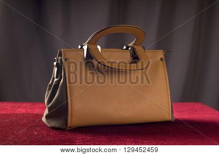 Bag brown color on red velvet background in studio