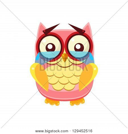 Tearful Pink Owl Adorable Emoji Flat Vector Caroon Style Isolated Icon