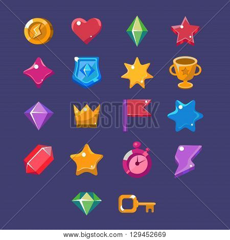 Flash Game Resources Set Of Simple Vector Design Items In Colorful Cartoon Style Isolated On Blue Background