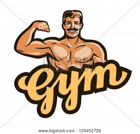 gym vector logo. sport, fitness or bodybuilding icon