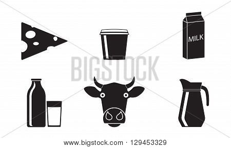 Milk and Dairy products icon set. Vector illustration.