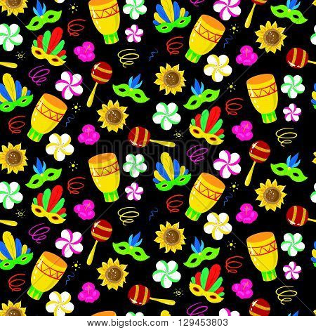 Seamless Pattern With Brazilian Carnival Elements