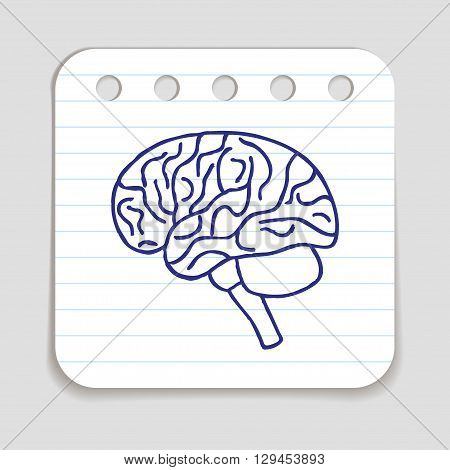 Doodle Brain icon. Infographic symbol hand drawn with pen. Scribble style graphic design element. Web button. Medical symbol on a notepad page with lines.