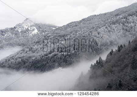 Mountain valley with snow and low clouds.