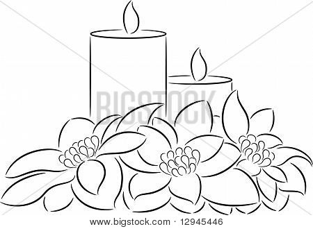 Candle and poinsettia