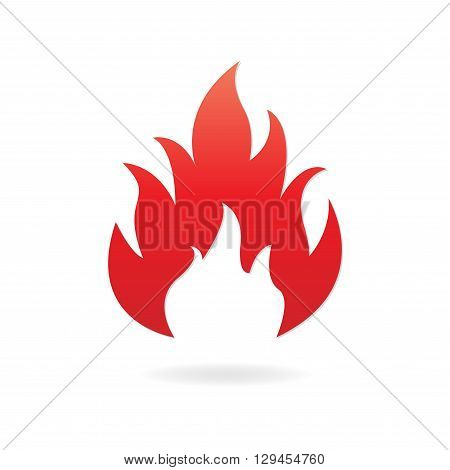 Fire or flame icon isolated on white background. Vector illustration.