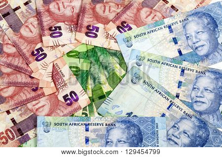 Circular Arrangement Of Flat South African Rand Bank Notes