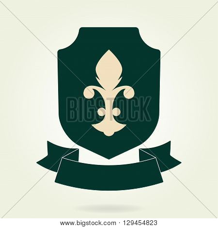 Shield symbol with blazon and ribbon. Heraldic royal design element. Vector illustration.