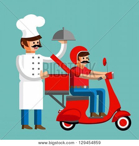Cook with the driver of the scooter delivery food in flat style