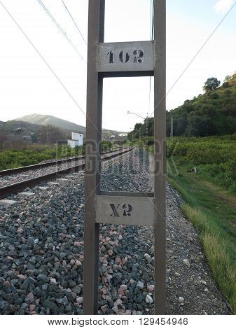Imbedded steel support for railway overhead line gantry near Alora Andalucia