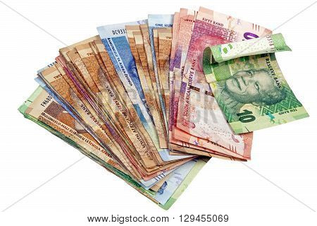 Isolated Spread South African Rand Notes On White