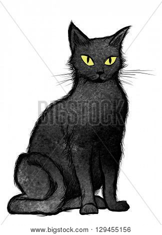 Black Cat sitting and looking at the camera, isolated on white - vector illustration