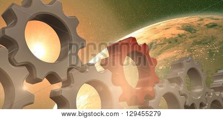 Red and white cogs and wheels against aerial view of the earth