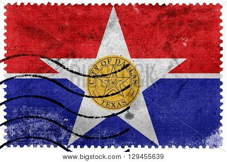 Flag Of Dallas, Texas, Old Postage Stamp