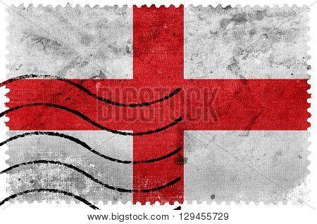 Flag of Genoa old postage stamp, vintage look