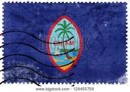Flag of Guam old postage stamp, vintage look