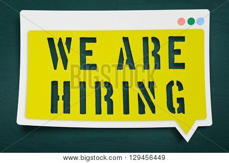 We are hiring message against teal