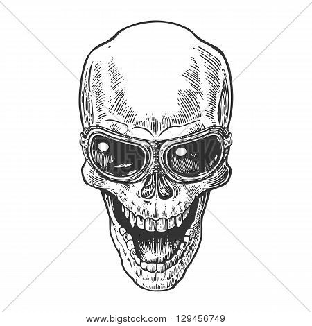 Skull smiling with glasses for motorcycle. Black vintage vector illustration. For poster and tattoo biker club. Hand drawn design element isolated on white background